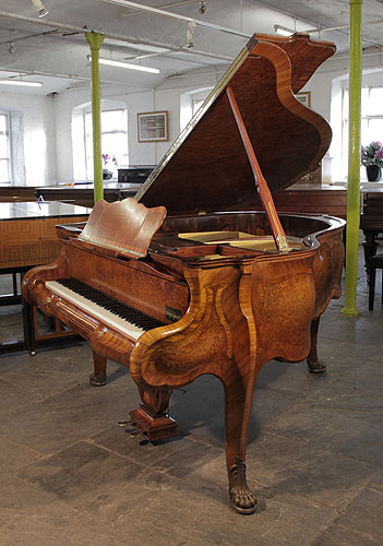 Piano for sale. Rococo style, Burger & Jacobi grand piano for sale with a walnut case and cabriole legs with claw feet.