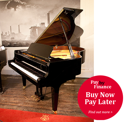 Kawai GL-50 grand Piano for sale with a black case and square, tapered legs