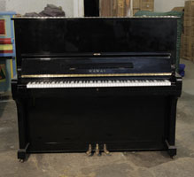 A 1968, Kawai KU-3 Upright Piano with a Black Case and Brass Fittings
