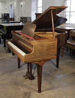 Pre-owned, 1933, Rogers Baby Grand Piano For Sale with a Mahogany Case and Octagonal, Faceted Legs. Piano has two Sheet Music Storage Drawers