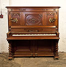 Piano for sale. Steingraeber upright piano with a Neoclassical style, carved mahogany case and barley twist legs