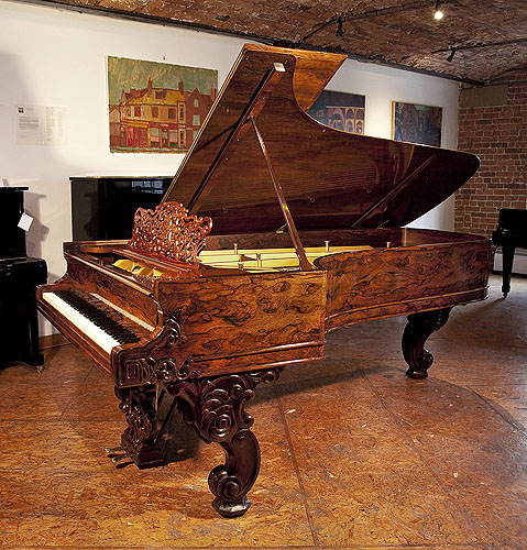 An 1877, Steinway & Sons Model D Concert Grand Piano For Sale with a Rosewood Case and Reverse Scroll Legs