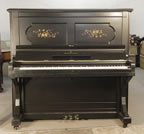 Piano for sale. Pre-owned, 1886, Steinway Upright Piano For Sale with a Satin, Black Case and Floral Inlaid Panels