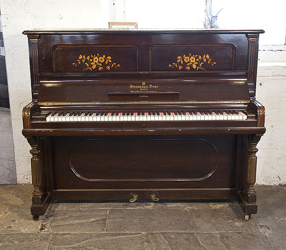 An 1899,   Steinway  Upright Piano For Sale with a Rosewood Case with Floral Inlaid Panels
