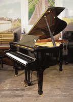 A pre-owned, Waldstein GP159 grand piano for sale with a black case and spade legs