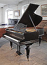 A 1900, Bechstein Model B grand piano with a black, satin case and turned legs. Piano has an eighty-eight note keyboard and a two-pedal lyre