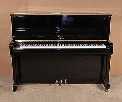 A 2004, Boston UP-118 Upright Piano For Sale with a Black Case and Brass Fittings