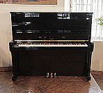 Piano for sale. A 2000, Boston UP-132E Upright Piano For Sale with a Black Case and Brass Fittings.