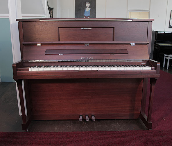 Brand New, Feurich Model 123 Upright Piano For Sale with a Satin, Walnut Case, LED Lighting and Chrome Fittings