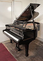 Feurich Model 178 Professional grand piano with a black case, openwork music desk and gun metal frame