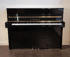 A 2015, Grotrian Steinweg 'Cristal' Upright Piano For Sale with a Black Case and Brass Fittings