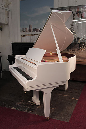Kawai GL-50 grand Piano for sale with a white case and square, tapered legs