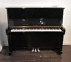 A Kawai KU-1B upright piano with a black case and polyester finish