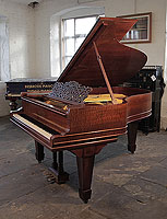 A 1908, Steinway Model A grand piano for sale with a pommele mahogany case, filigree music desk and spade legs. Piano has an eighty-eight note keyboard and a three-pedal lyre.