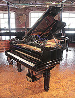 Restored, 1898, Steinway Model B grand piano with a black case, filigree music desk and elephant legs. Piano has a three-pedal lyre and an eighty-eight note keyboard.