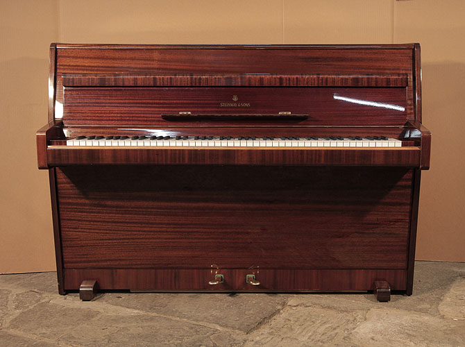A 1960,   Steinway Model F Upright Piano For Sale with a Mahogany Case.