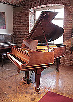 Restored, 1906, Steinway Model O grand piano for sale with a mahogany case and spade legs. Piano has an eighty-eight note keyboard and a two-pedal lyre.