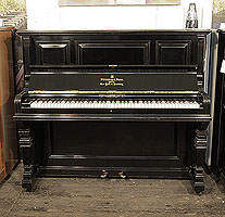 Antique, 1889, Steinway upright piano with a black case and square, tapred legs