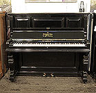Piano for sale. Antique, 1889, Steinway upright piano with a black case and square, tapered legs