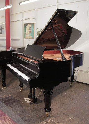 A Brand New, Toyama TC-187 Grand Piano For Sale with a Black Case and Brass Fittings