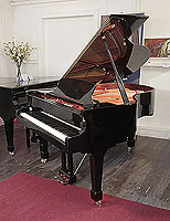 Pre-owned, Wendl and Lung Model 178 grand piano with a black case and polyester finish.