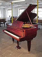 Mid Century Modern style, 1955, Yamaha No20 grand piano with a satin, teak case. Piano features unusual, angular case styling. Piano lyre rests on a single rod. A rare chance to own a collectable, vintage Yamaha.