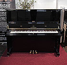 Piano for sale. A 2006, Yamaha U3S upright piano for sale with a black case and brass fittings. Piano has an eighty-eight note keyboard and three pedals.