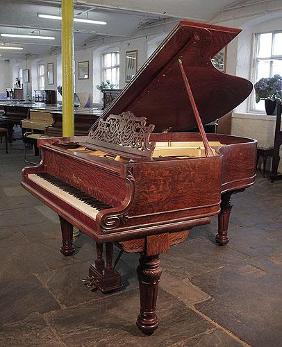 Piano for sale. Decker-bros-grand-piano-quartered-oak-carved-fluted-legs.htm