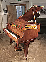 A 1936, Bechstein Model S baby grand piano for sale with a polished, burr walnut case and square, tapered legs