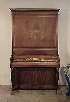 Antique, 1820, Clementi pianoforte for sale with a mahogany case and fluted, baluster legs. Cabinet features a central stylised design of flowers and whiplash lines