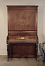 Piano for sale. Antique, 1820, Clementi pianoforte for sale with a mahogany case and fluted, baluster legs. Cabinet features a central stylised design of flowers and whiplash lines