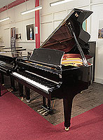 Brand new, Kawai GX-2 grand piano for sale with a black case and brass fittings. Piano has an eighty-eight note keyboard and a three-pedal lyre.
