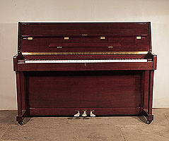 Richmann UP108 upright piano for sale with a mahogany case and polyester finish . Piano has an eighty-eight note keyboard and and three pedals