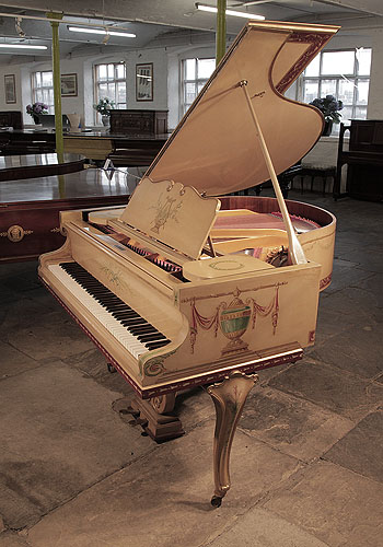 Romanesque style, grand piano for sale with a cream case with cabriole legs. Entire cabinet hand-painted in Romanesque motifs, swags and flowers.