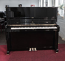 Brand new, Sauter Meisterklasse upright piano for sale with a polished, black case. Piano achieves concert quality sound featuring a grand quality resonating body, double repetition action and sostenuto pedal. 100% made in Germany.