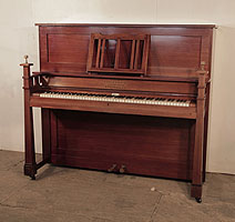 Arts and Crafts style, 1905, Schiedmayer upright piano for sale with a mahogany case and sculptural candlesticks