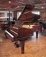 Restored, 1899, Steinway Model B grand piano for sale with a rosewood case, filigree music desk and fluted, barrel legs.