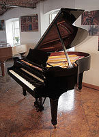 Restored, 1978, Steinway Model O grand piano with a black case and spade legs. Piano has an eighty-eight note keyboard and a two-pedal lyre.