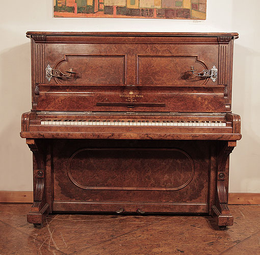 Antique, 1884, Steinway upright piano for sale with a burr walnut case and brass candlesticks