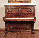 Antique, 1884, Steinway upright piano for sale with a burr walnut case and brass candlesticks Piano has an eighty-five note keyboard and two pedals.