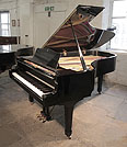 Piano for sale. A 1979, Yamaha C7 concert grand piano for sale with a black case and spade legs. Piano has an eighty-eight note keyboard and a three-pedal lyre.