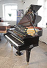Piano for sale. Bechstein Model A1 grand piano with a  black case cut-out music desk in a sunset design and square, tapered legs