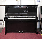 Piano for sale. Brand New Feurich Model 133 Concert upright piano with a black case and chrome fittings. Cabinet features and extendable LED strip light and a slow fall mechanism.