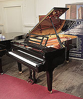 Brand new, Feurich Model F218 Concert I Grand piano for sale with a black case, cut-out music desk with LED strip and square legs with dual casters