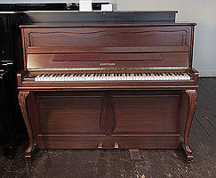 A reconditioned, 1980, W. Hoffmann upright piano for sale with a mahogany case and cabriole legs