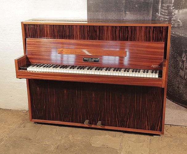 Mid Century Modern style, Monington and Weston upright piano for sale with a mahogany and macassar ebony case