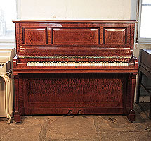 A 1914, Sheraton style, Pleyel upright piano with a pommele mahogany case with satinwood stringing accents