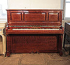 Piano for sale. A 1914, Sheraton style, Pleyel upright piano with a pommele mahogany case with satinwood stringing accents. Piano has an eighty-five note keyboard and two pedals.