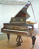 Inlaid Gebruder Knake 1860 grand piano. Inlaid with brass, pweter and mother of pearl.
