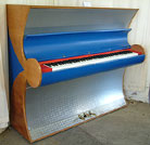 Piano for sale. An art cased Besbrode upright piano specially commissioned for the Frankfurt Fair 2000. Uniquely finished with Aluminium and Leather. Groovy Besbrode original.